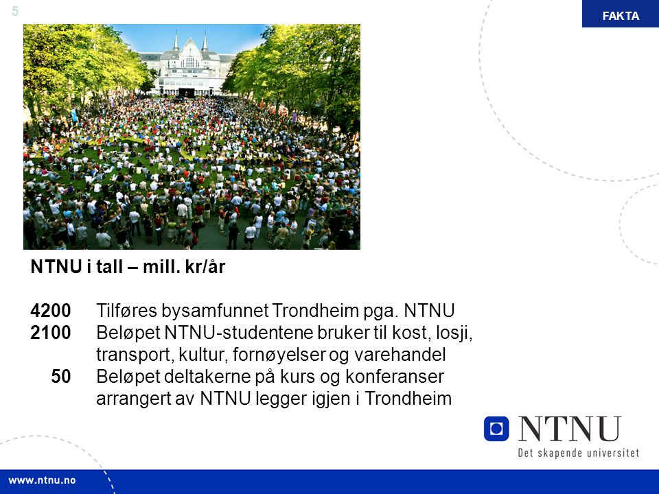 FAKTA NTNU i tall – mill. kr/år.