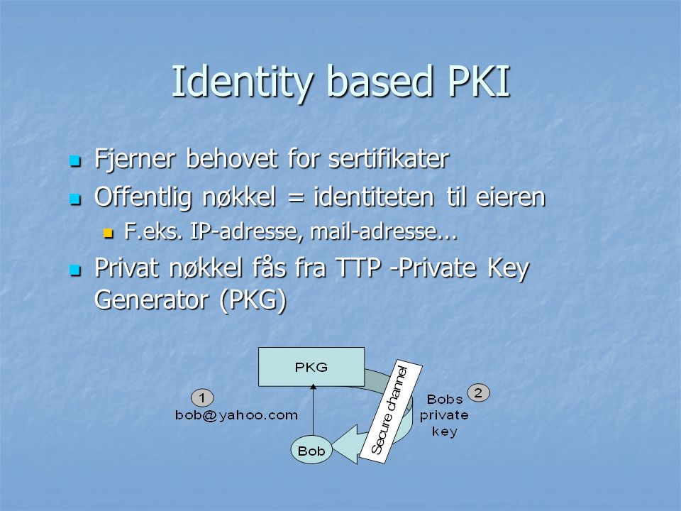 Identity based PKI Fjerner behovet for sertifikater