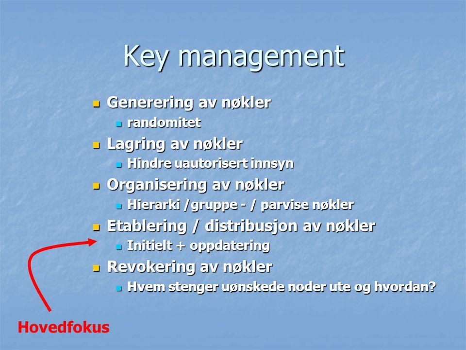 Key management Generering av nøkler Lagring av nøkler