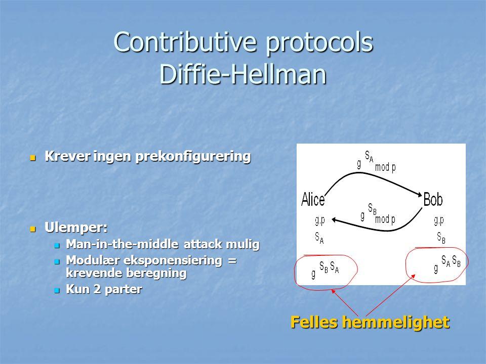 Contributive protocols Diffie-Hellman