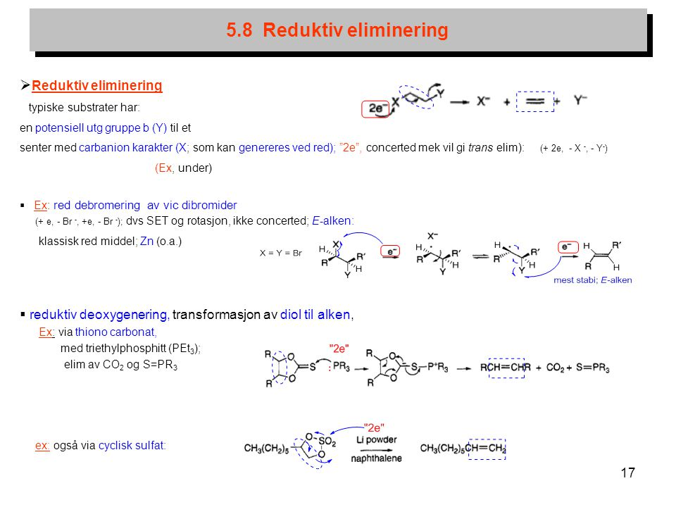 5.8 Reduktiv eliminering Reduktiv eliminering