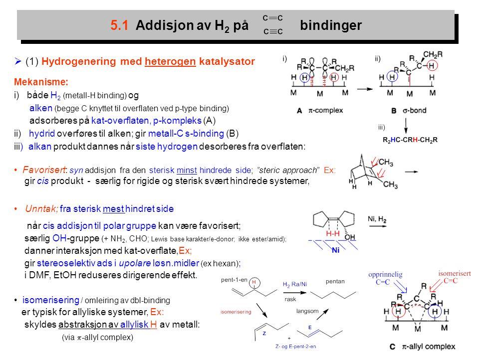 5.1 Addisjon av H2 på bindinger