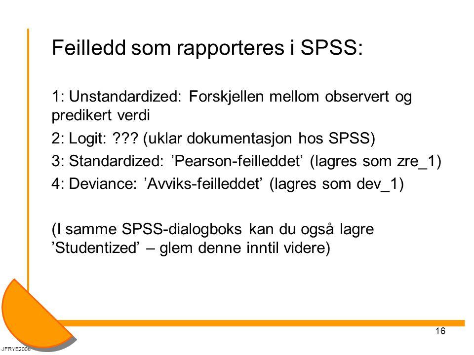 Feilledd som rapporteres i SPSS: