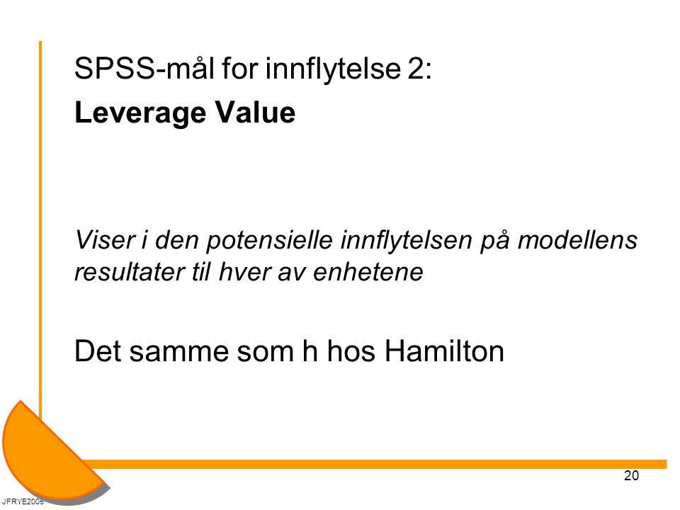 SPSS-mål for innflytelse 2: Leverage Value