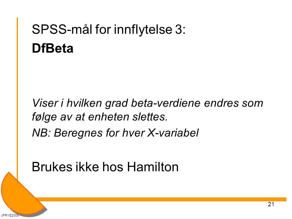 SPSS-mål for innflytelse 3: DfBeta