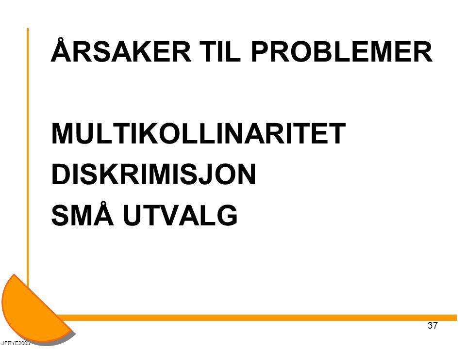 ÅRSAKER TIL PROBLEMER MULTIKOLLINARITET DISKRIMISJON SMÅ UTVALG