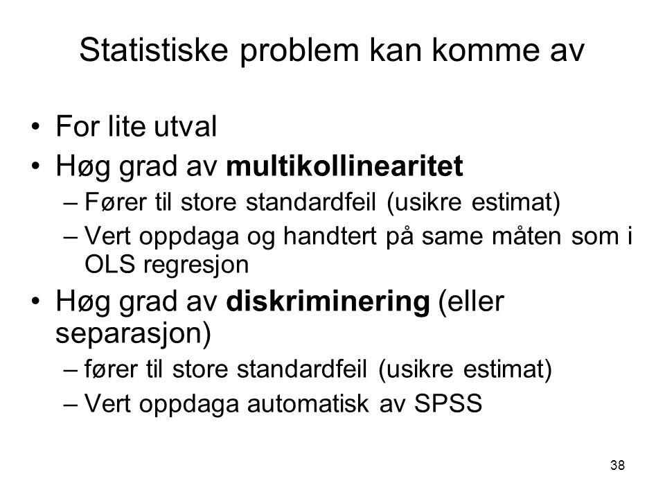 Statistiske problem kan komme av