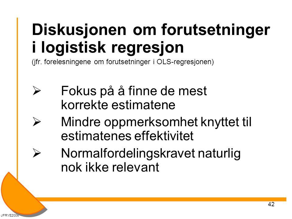 Diskusjonen om forutsetninger i logistisk regresjon