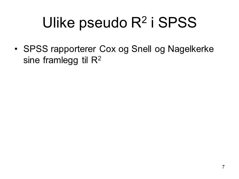 Ulike pseudo R2 i SPSS SPSS rapporterer Cox og Snell og Nagelkerke sine framlegg til R2