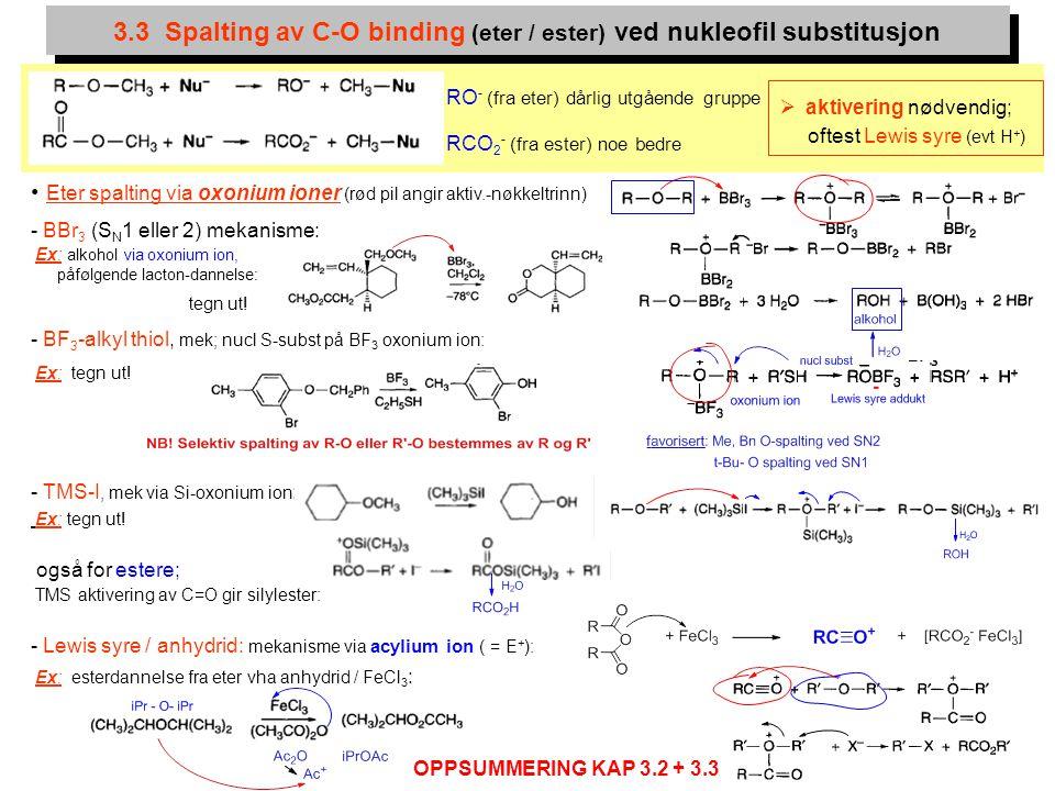 3.3 Spalting av C-O binding (eter / ester) ved nukleofil substitusjon