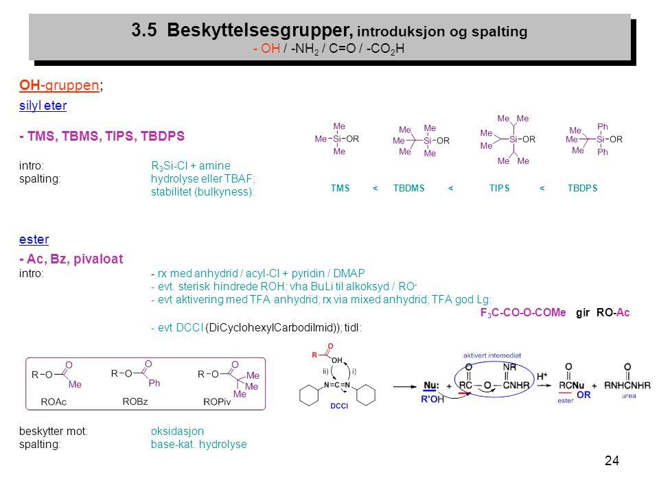 3.5 Beskyttelsesgrupper, introduksjon og spalting - OH / -NH2 / C=O / -CO2H