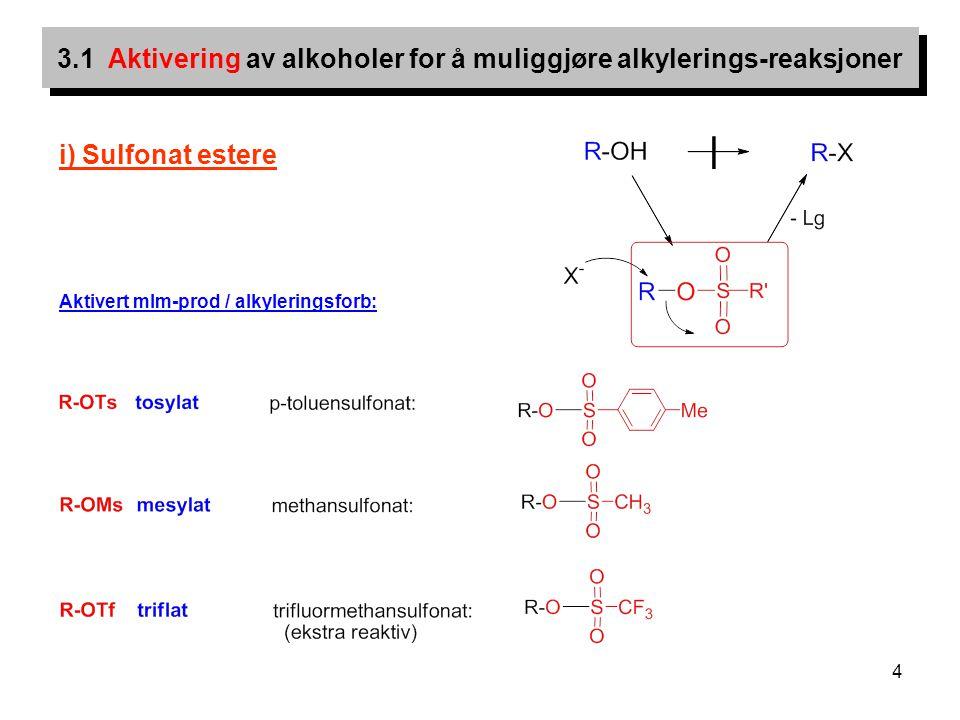 3.1 Aktivering av alkoholer for å muliggjøre alkylerings-reaksjoner