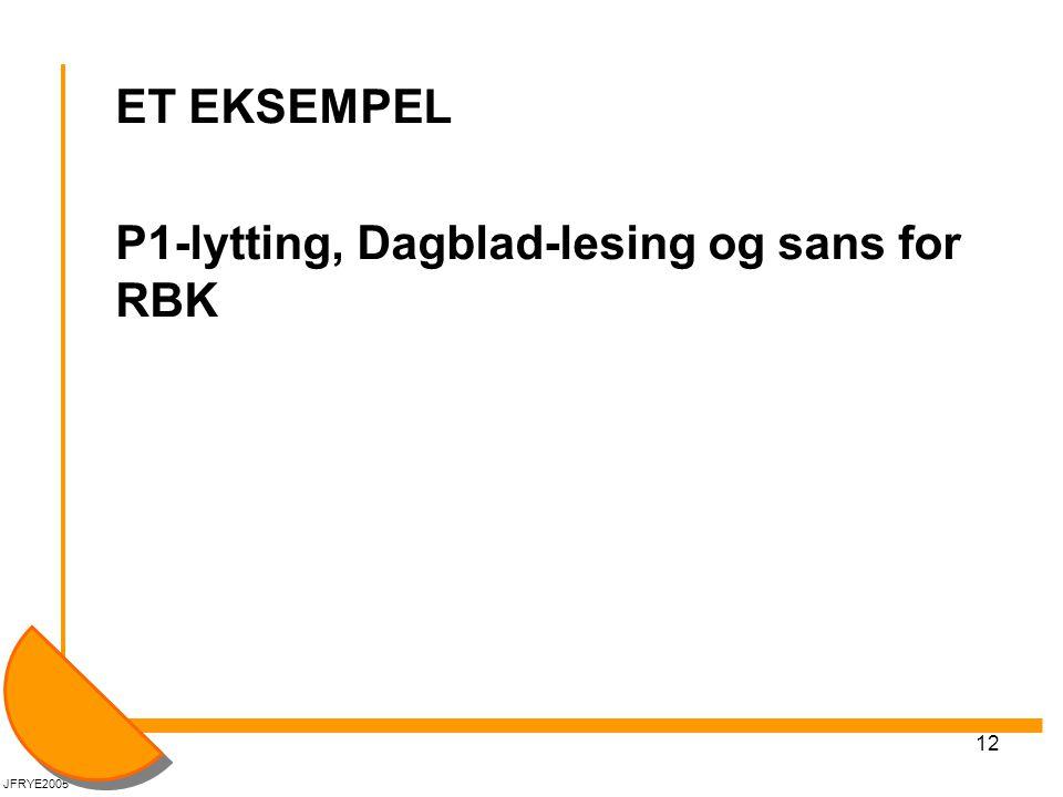 ET EKSEMPEL P1-lytting, Dagblad-lesing og sans for RBK