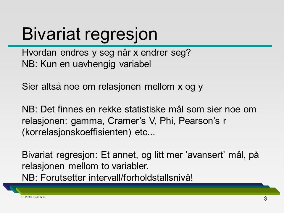 Bivariat regresjon Hvordan endres y seg når x endrer seg
