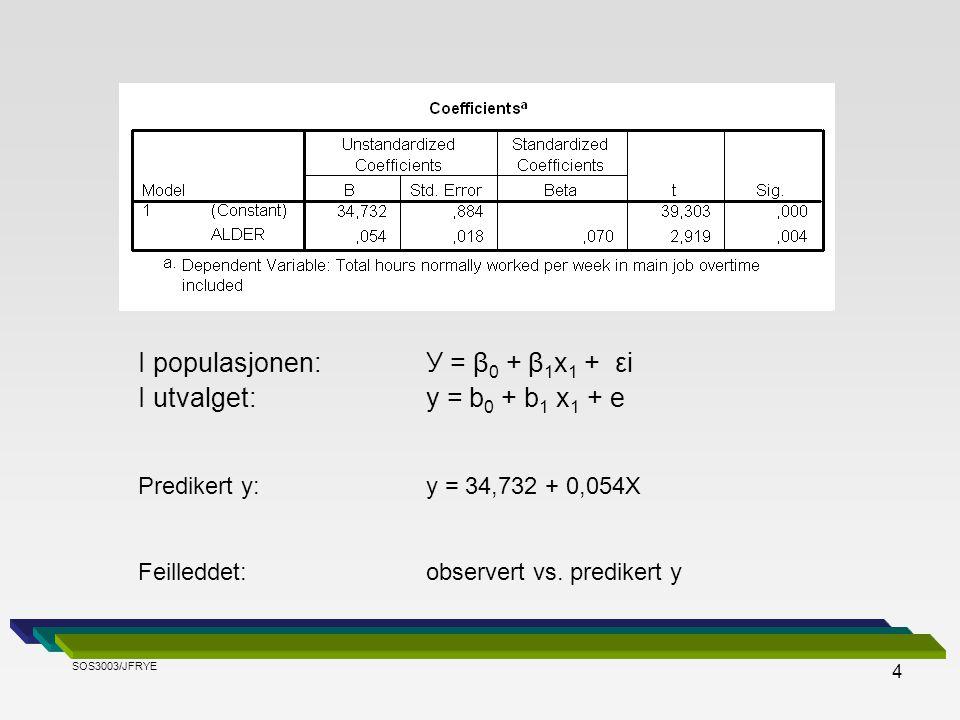 I populasjonen: У = β0 + β1x1 + εi I utvalget: y = b0 + b1 x1 + e