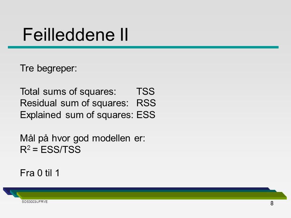 Feilleddene II Tre begreper: Total sums of squares: TSS