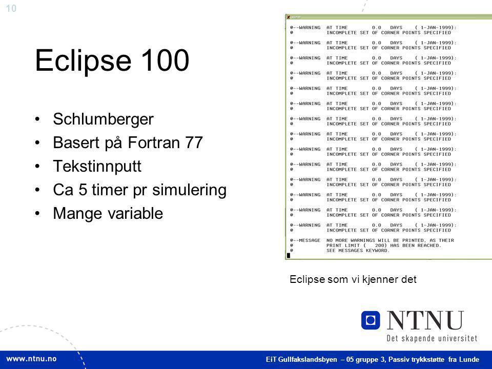 Eclipse 100 Schlumberger Basert på Fortran 77 Tekstinnputt