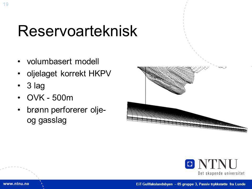 Reservoarteknisk volumbasert modell oljelaget korrekt HKPV 3 lag