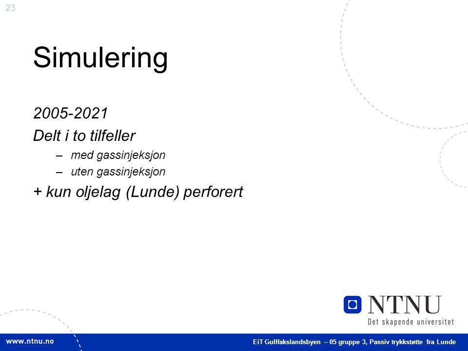 Simulering 2005-2021 Delt i to tilfeller