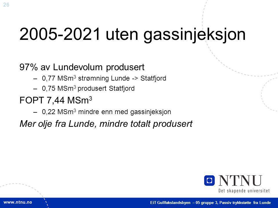 2005-2021 uten gassinjeksjon 97% av Lundevolum produsert