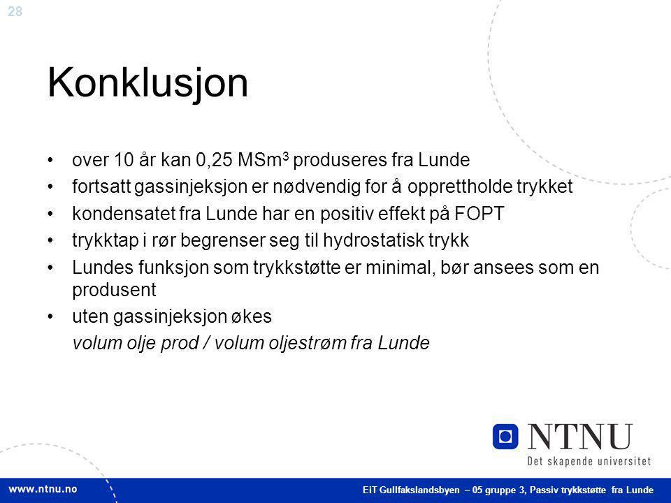 Konklusjon over 10 år kan 0,25 MSm3 produseres fra Lunde
