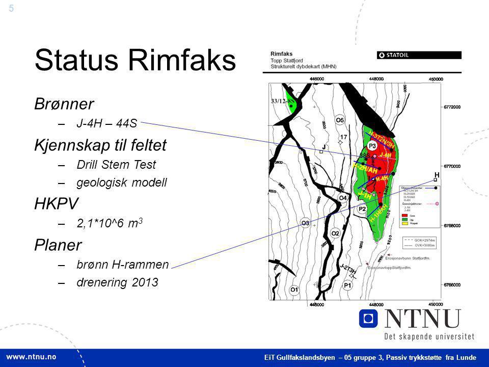 Status Rimfaks Brønner Kjennskap til feltet HKPV Planer J-4H – 44S