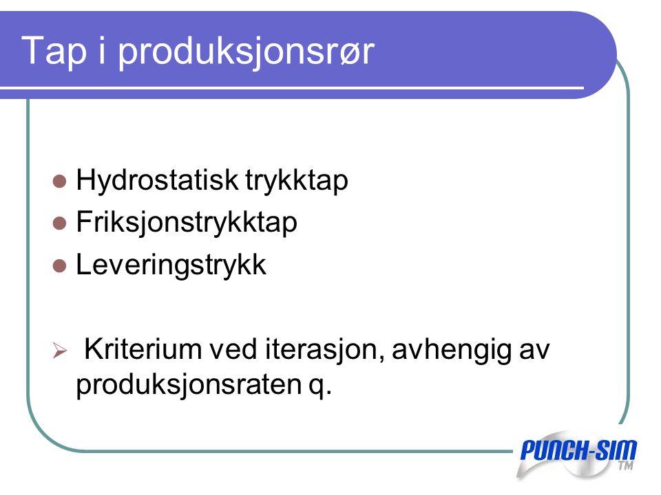 Tap i produksjonsrør Hydrostatisk trykktap Friksjonstrykktap