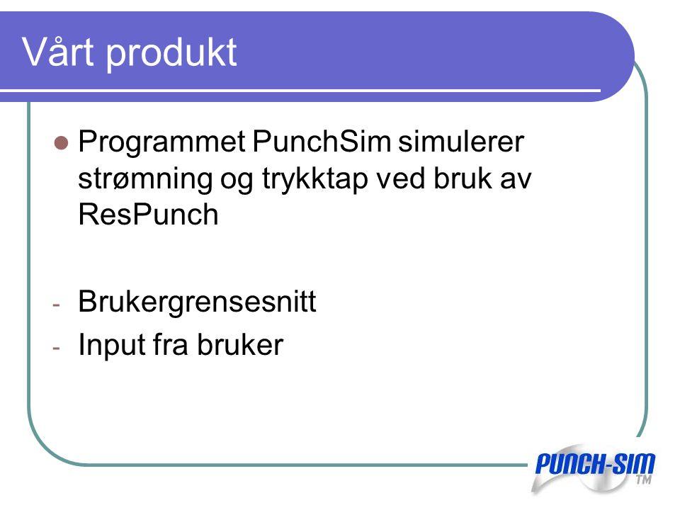 Vårt produkt Programmet PunchSim simulerer strømning og trykktap ved bruk av ResPunch. Brukergrensesnitt.