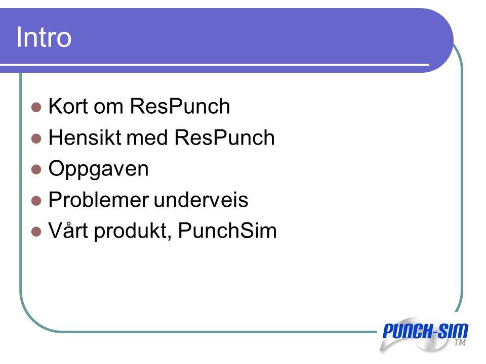 Intro Kort om ResPunch Hensikt med ResPunch Oppgaven