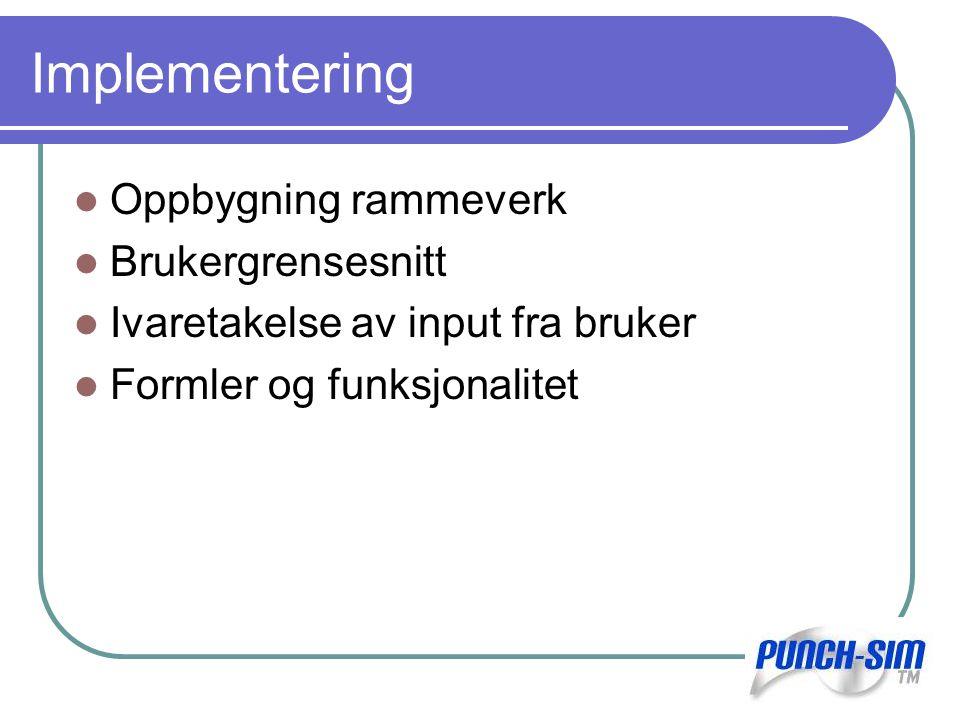 Implementering Oppbygning rammeverk Brukergrensesnitt