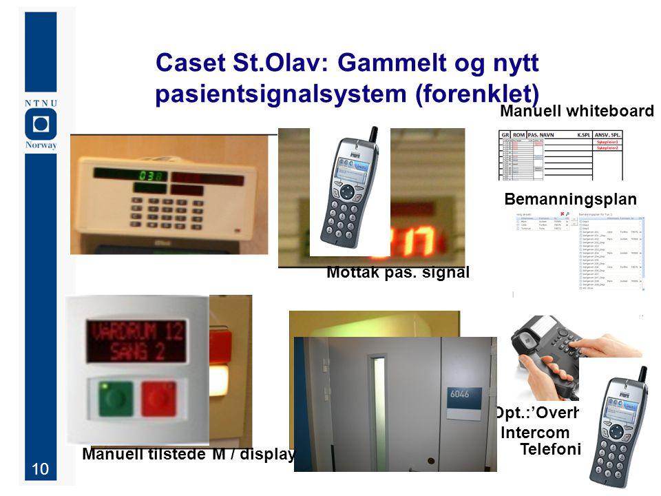 Caset St.Olav: Gammelt og nytt pasientsignalsystem (forenklet)