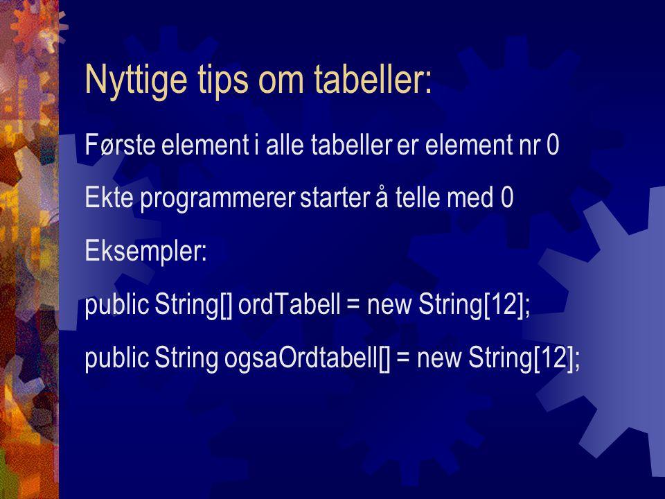 Nyttige tips om tabeller: