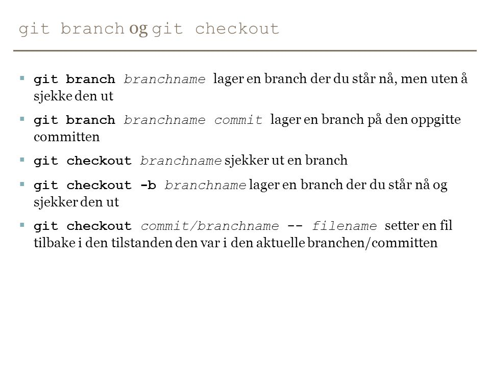git branch og git checkout