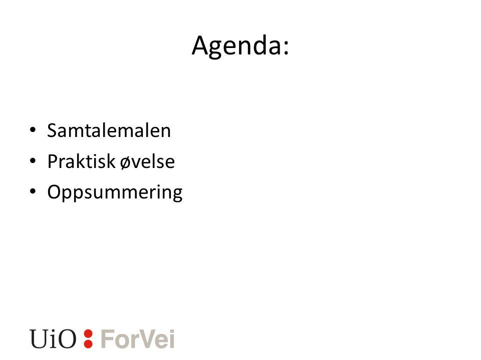 Agenda: Samtalemalen Praktisk øvelse Oppsummering