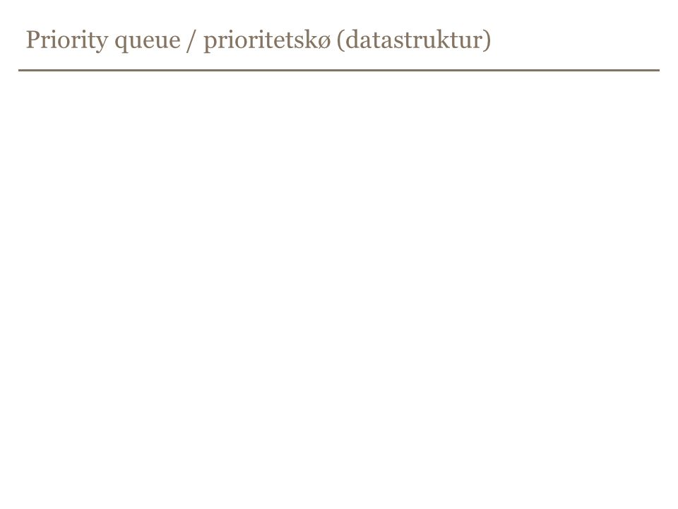 Priority queue / prioritetskø (datastruktur)
