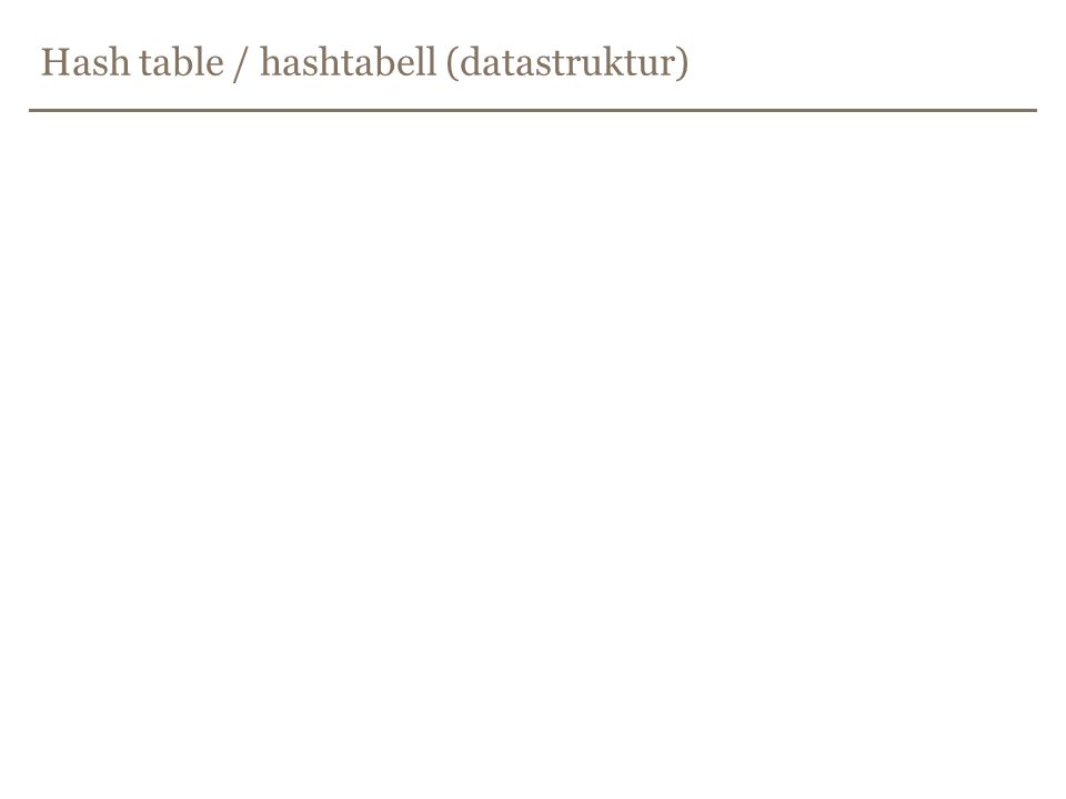 Hash table / hashtabell (datastruktur)