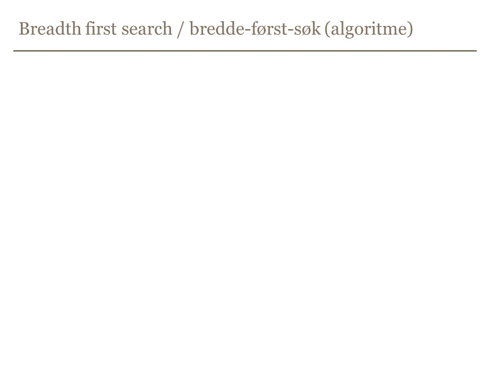 Breadth first search / bredde-først-søk (algoritme)