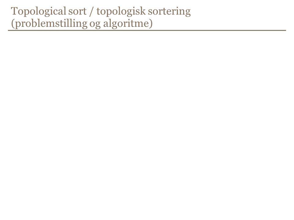 Topological sort / topologisk sortering (problemstilling og algoritme)