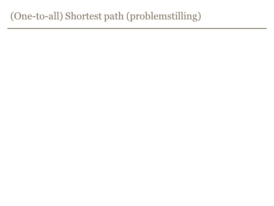 (One-to-all) Shortest path (problemstilling)