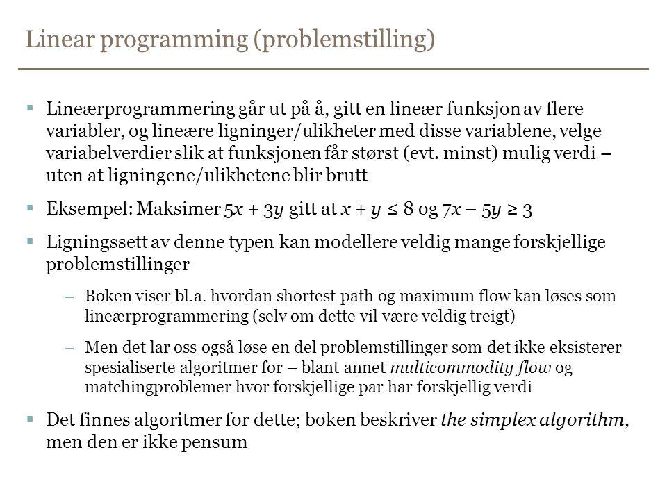 Linear programming (problemstilling)