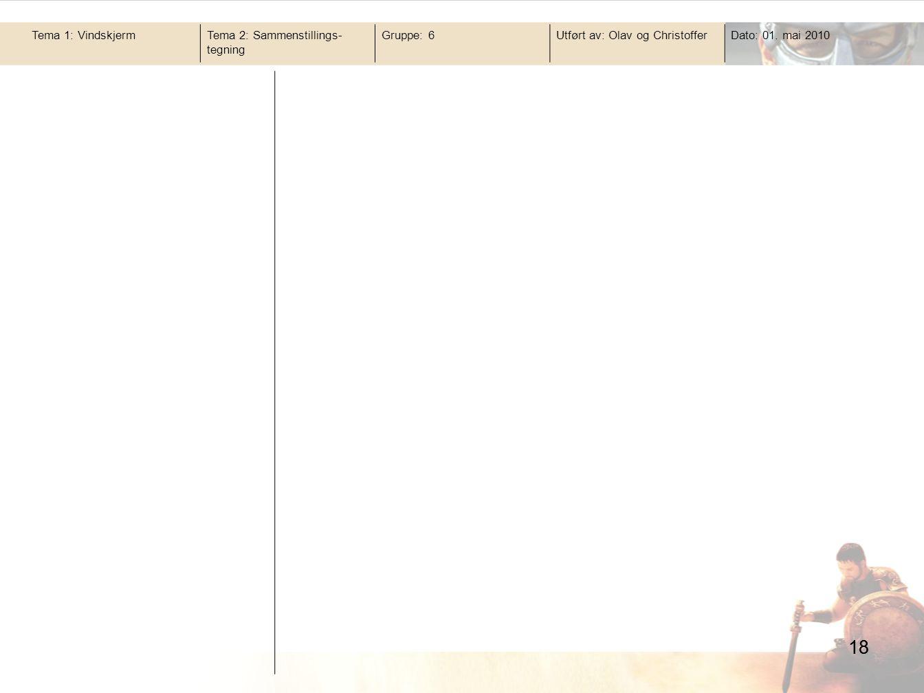 18 Tema 1: Vindskjerm Tema 2: Sammenstillings-tegning Gruppe: 6