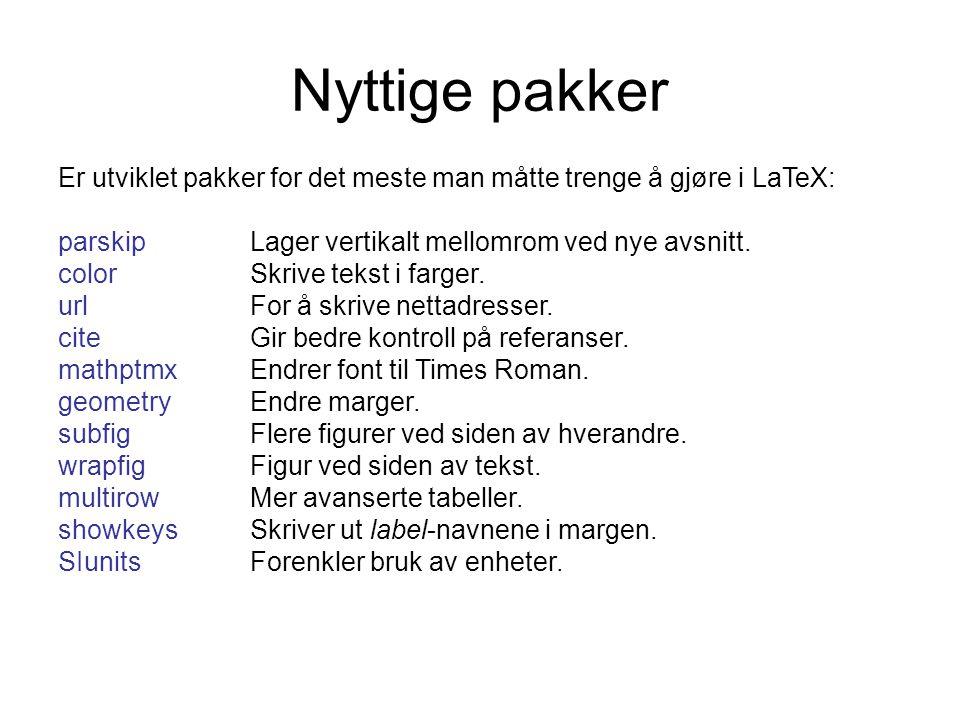 Nyttige pakker Er utviklet pakker for det meste man måtte trenge å gjøre i LaTeX: parskip Lager vertikalt mellomrom ved nye avsnitt.