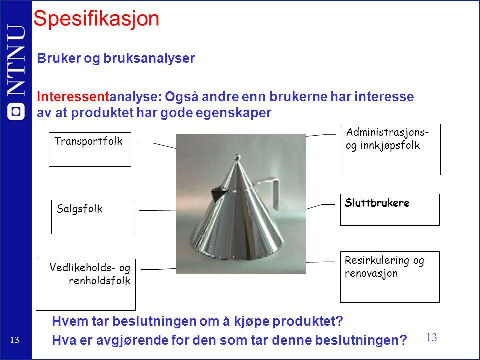 Spesifikasjon Bruker og bruksanalyser