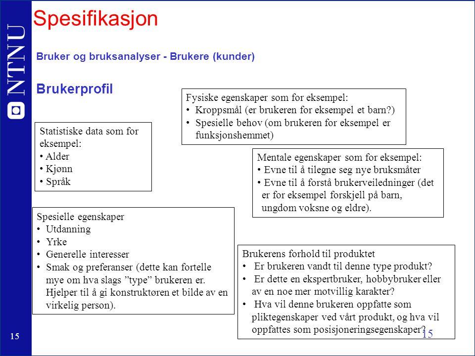 Spesifikasjon Brukerprofil Bruker og bruksanalyser - Brukere (kunder)