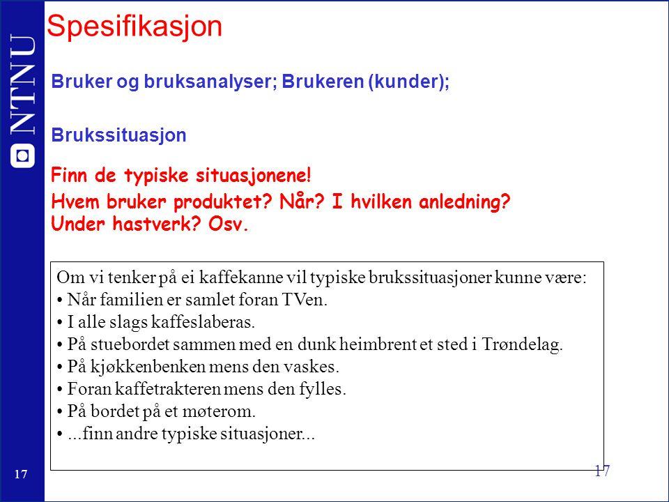 Spesifikasjon Bruker og bruksanalyser; Brukeren (kunder);