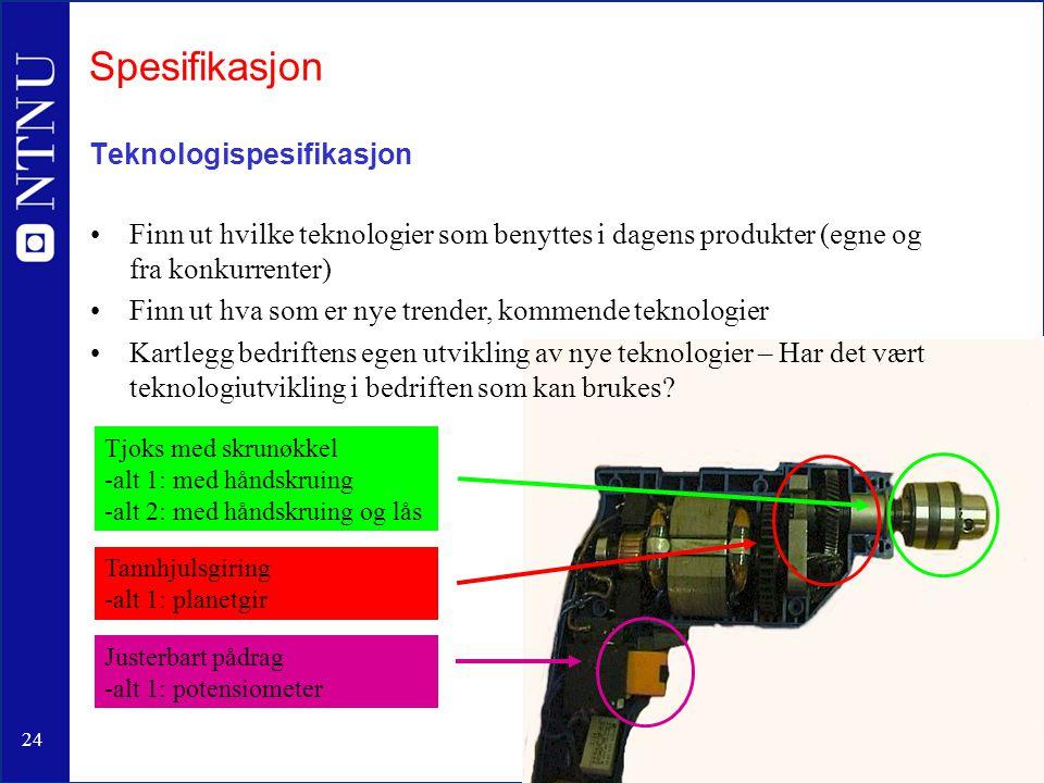 Spesifikasjon Teknologispesifikasjon