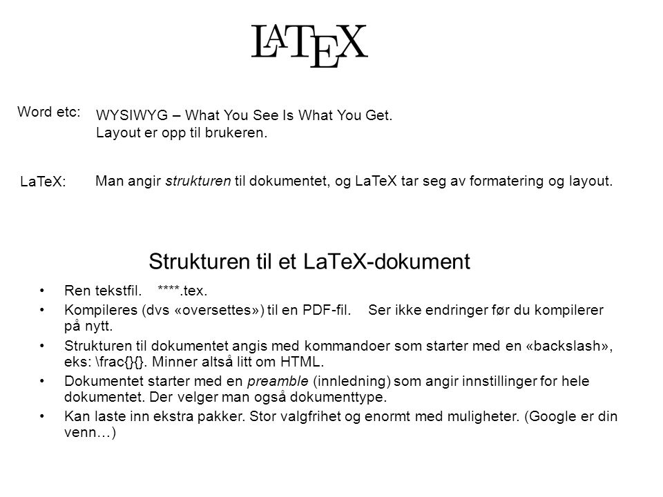 Strukturen til et LaTeX-dokument