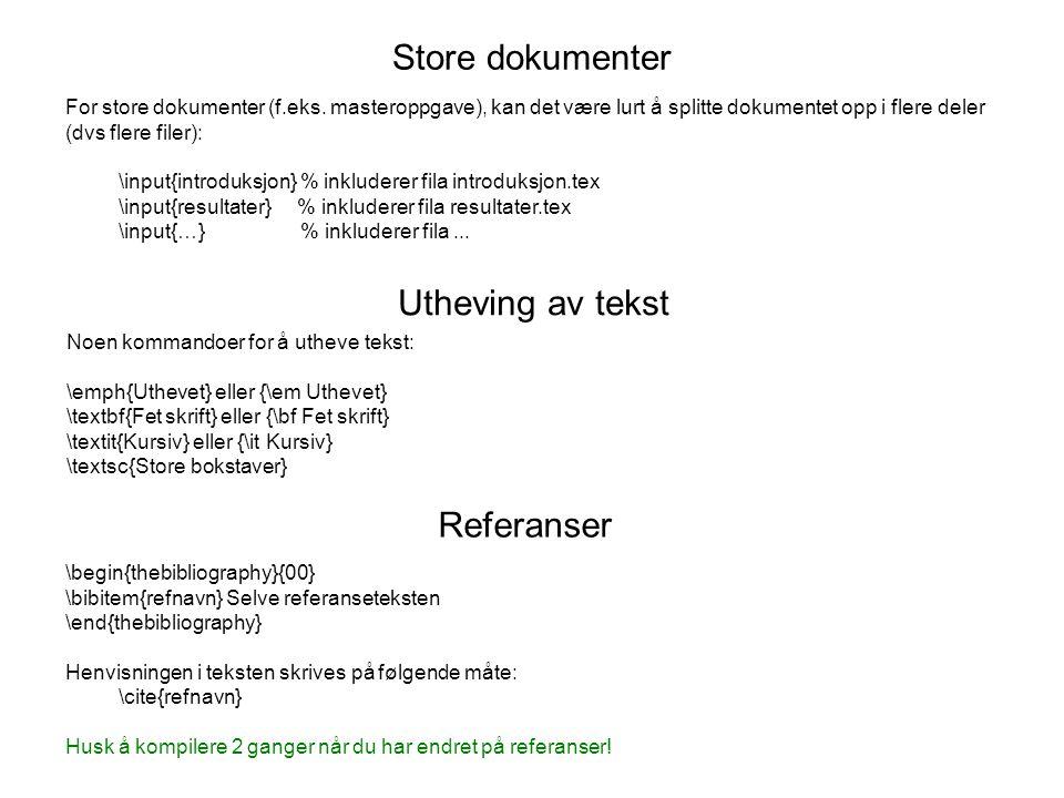 Store dokumenter Utheving av tekst Referanser