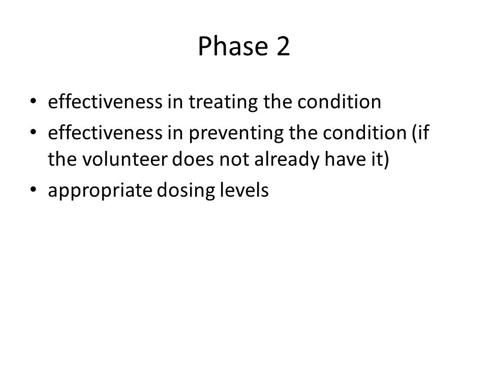 Phase 2 effectiveness in treating the condition
