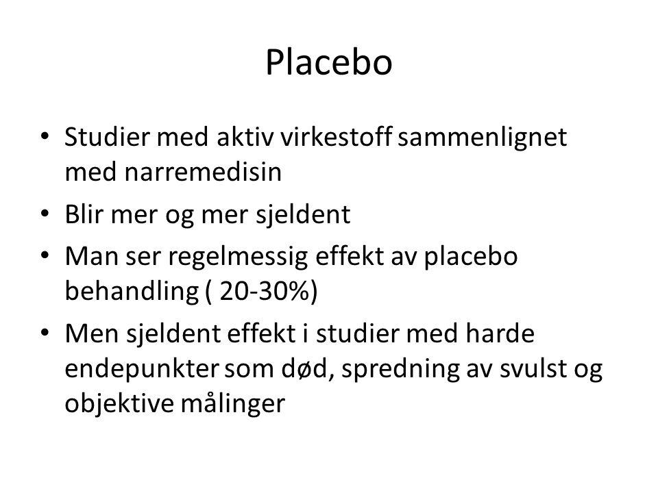 Placebo Studier med aktiv virkestoff sammenlignet med narremedisin